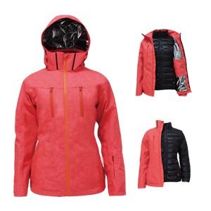 GL8342 Ladies Outdoor 3 in 1 Ski Winter Jacket with Waterproof Fashion Melange Fabric